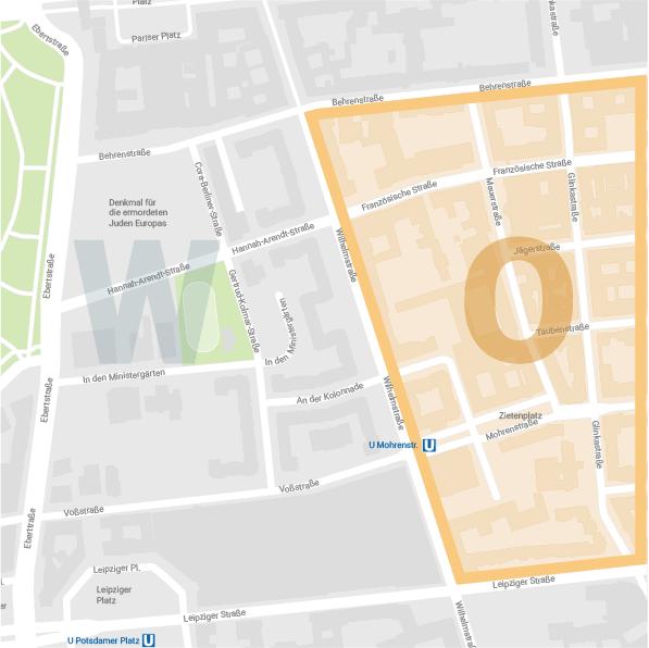 Karte Ostareal Wilhelmstraße Berlin