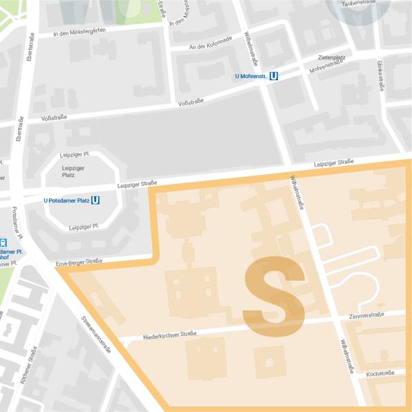 Karte Südareal Wilhelmstraße Berlin