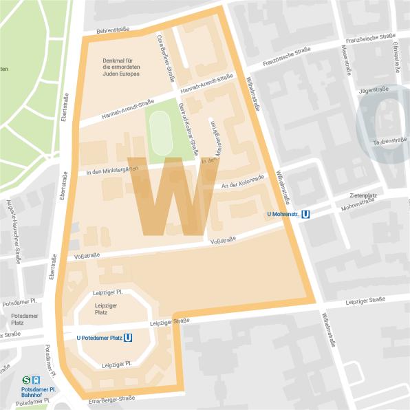Karte Westareal Wilhelmstraße Berlin