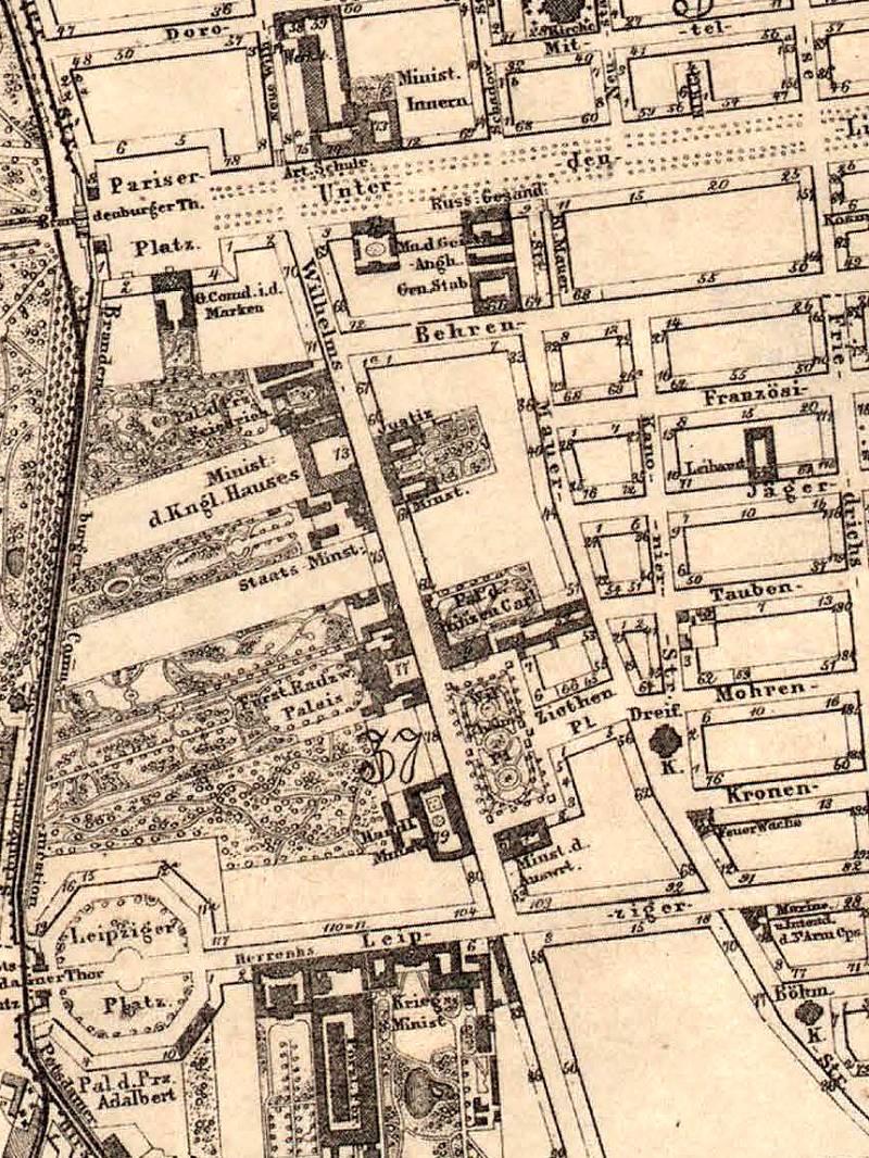 Berlin Wilhelmstraße Stadtplan 1863
