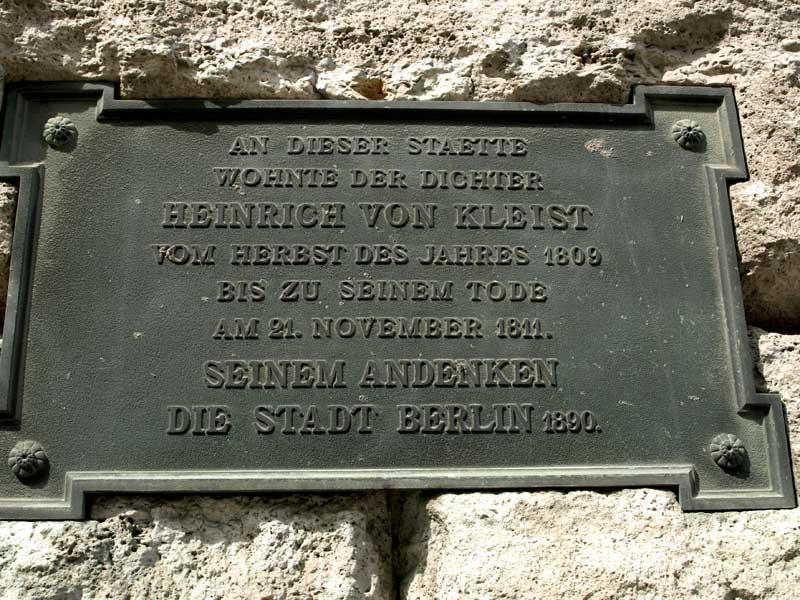 Gedenktafel am Kleisthaus