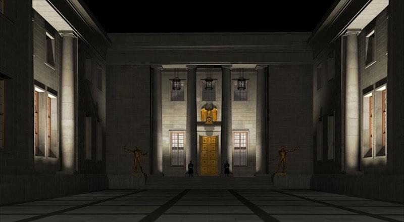 Der Ehrenhof der Neuen Reichskanzlei bei Nacht