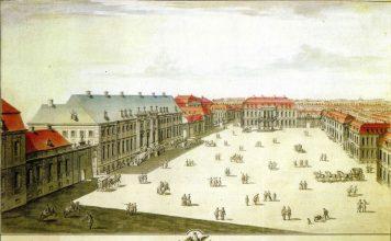 Der Wilhelmplatz, Federzeichnung von C.H. Horst, etwa 1733