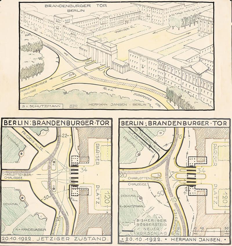 Verkehrsregulierungsvorschläge, Berlin. Pariser Platz und Brandenburger Tor