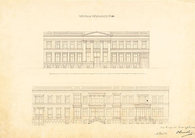 Palais Strousberg, Skizze von August Orth