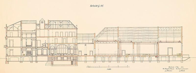 Umbau und Neubau durch Ernst von Ihne: Schnitt 1:100