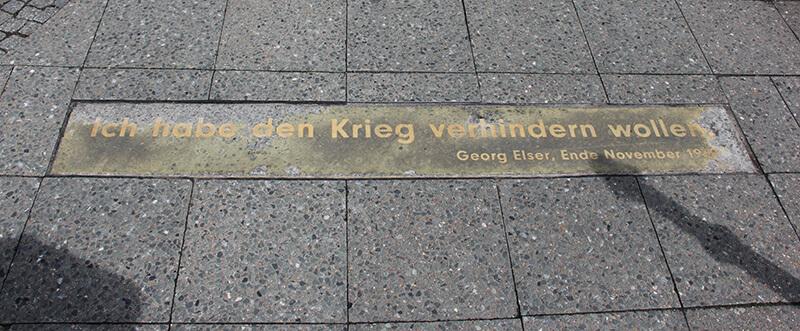 """""""Ich habe den Krieg verhindern wollen."""" (Georg Elser)"""