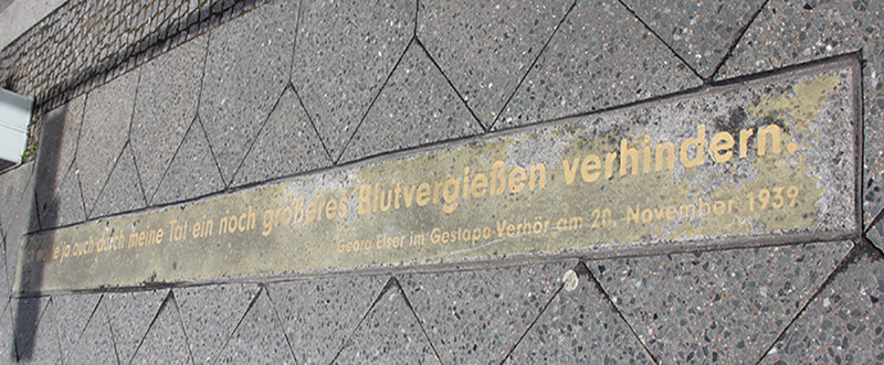 """""""Ich wollte ja auch durch meine Tat ein noch größeres Blutvergießen verhindern."""" (Georg Elser)"""