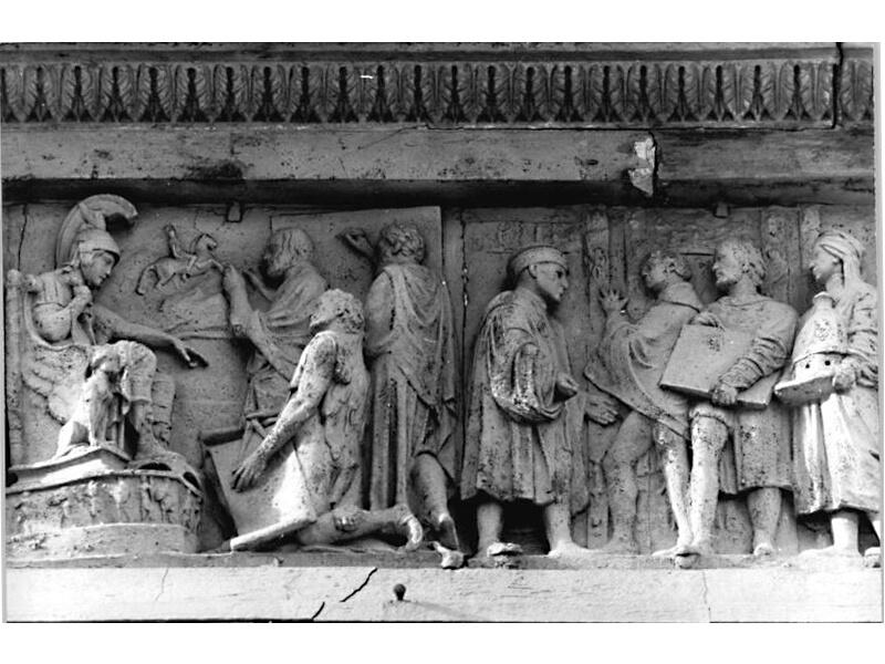 Fachreliefs mit Atelierszenen und figürlichen Darstellungen aus der Werkstatt des Meisters