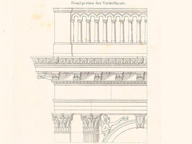 Detail: Hauptgesims der Vorderfassade