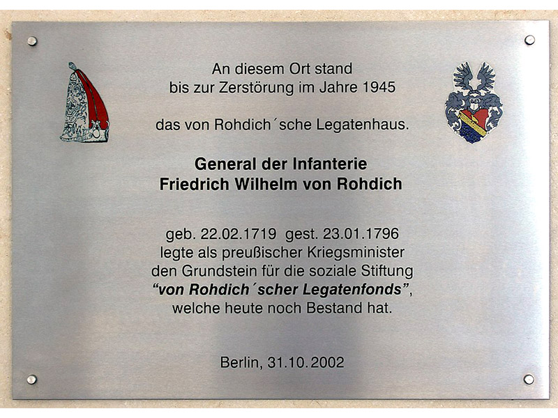 Gedenktafel an das von Rohdich'sche Legatenhaus