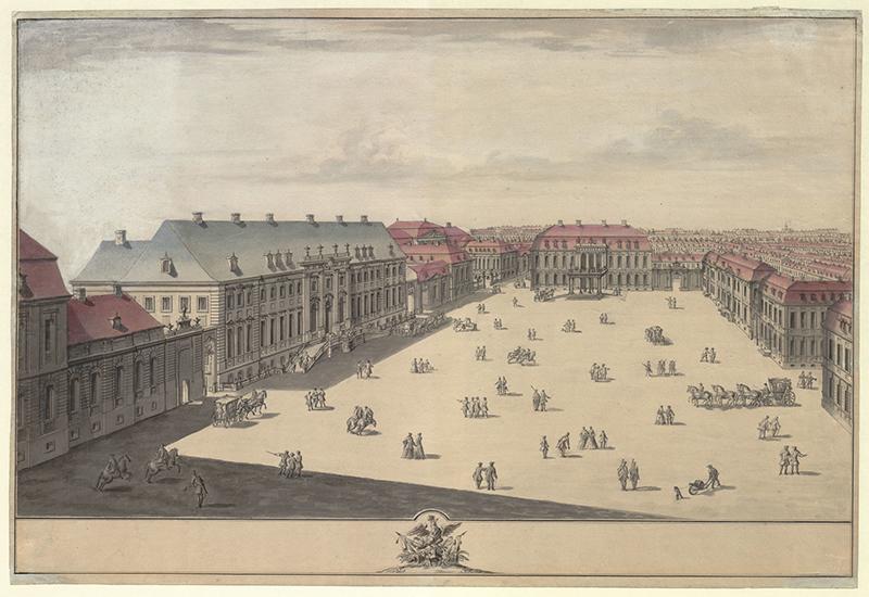 """Christian Heinrich Horst """"Der Wilhelmplatz von Süden her gesehen."""" Berlin, um 1740"""