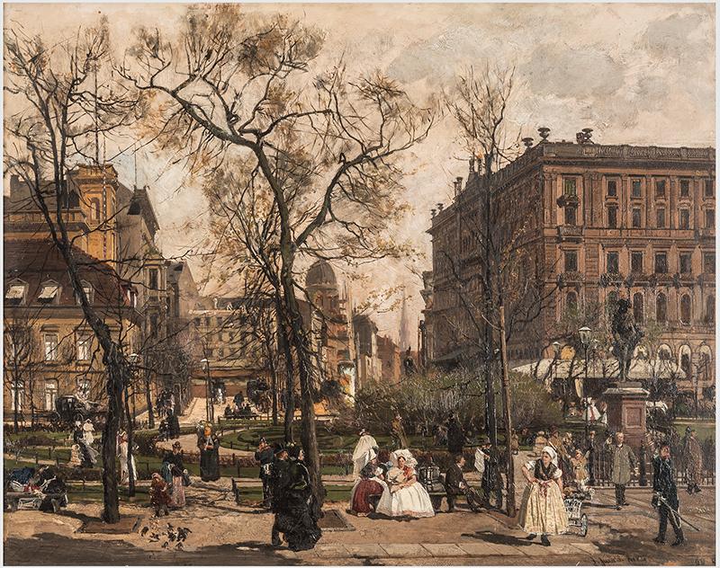 """""""Der Wilhelmplatz im Frühling"""", (Ansicht ohne Rahmen) Berlin, 1886 Julius Jacob, Öl a. Lwd"""