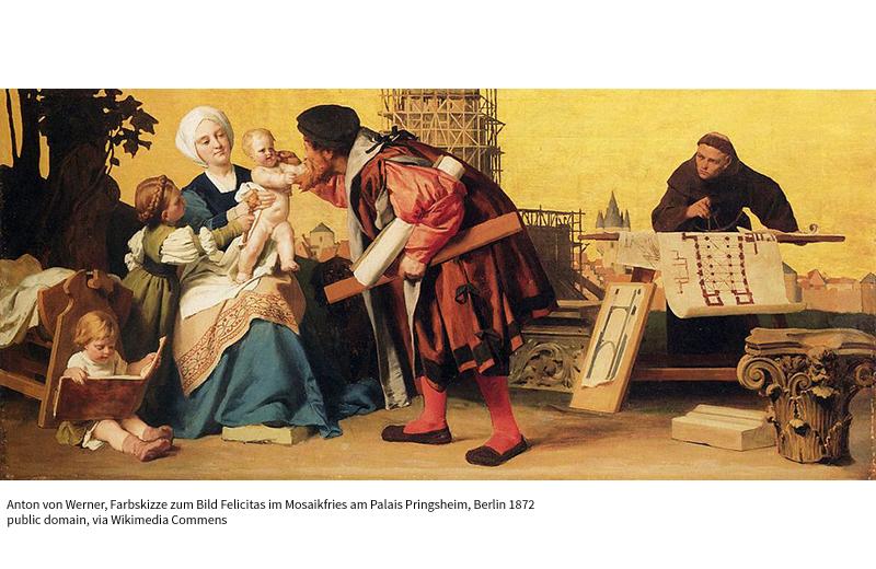 Farbskizze zum Bild Felicitas im Mosaikfries am Palais Pringsheim mit Rudolf Pringsheim als Cosimo di Medici, Berlin; 51 × 82 cm, Öl auf Leinwand, 1872 Anton von Werner / Public domain