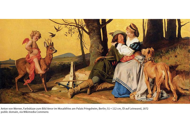Farbskizze zum Bild Amor im Mosaikfries am Palais Pringsheim mit Rudolf Pringsheim als Cosimo di Medici, Berlin; 51 × 82 cm, Öl auf Leinwand, 1872 Anton von Werner / Public domain