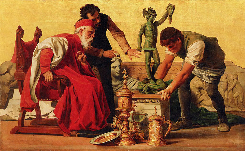 Farbskizze zum Bild Ars im Mosaikfries am Palais Pringsheim mit Rudolf Pringsheim als Cosimo di Medici