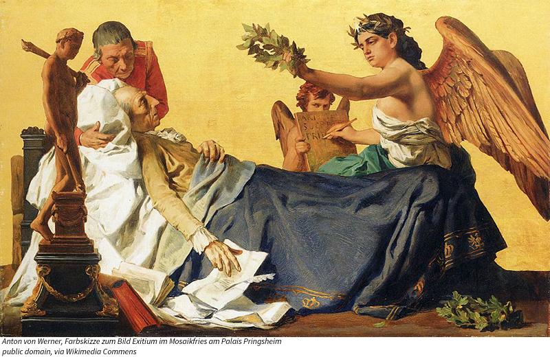 Farbskizze zum Bild Exitium im Mosaikfries am Palais Pringsheim, Berlin; 51 × 82 cm, Öl auf Leinwand, 1872 Anton von Werner / Public domain