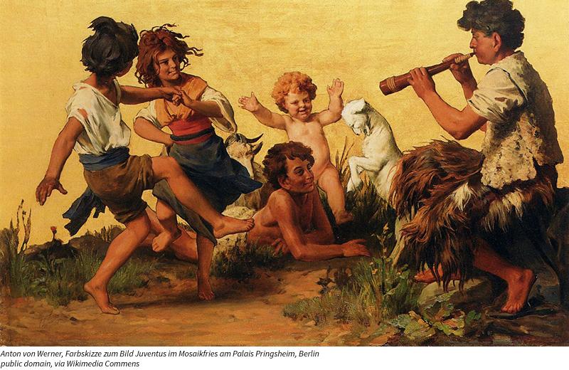 Farbskizze zum Bild Juventus im Mosaikfries am Palais Pringsheim, Berlin; 51 × 82 cm, Öl auf Leinwand, 1872 Anton von Werner / Public domain