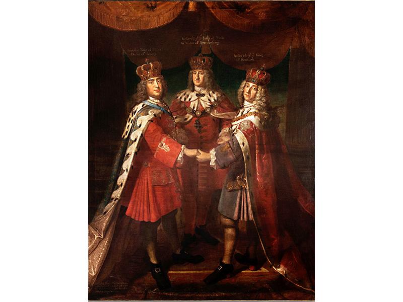 Dreikönigstreffen 1709: Friedrich I. in Preußen (Mitte), August II. (der Starke), Kurfürst von Sachsen und zeitweilig König von Polen (links), Friedrich IV. von Dänemark (rechts)