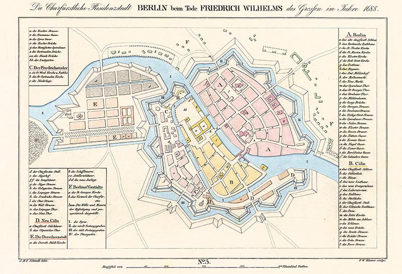 Die Churfürstliche Residenzstadt Berlin beim Tode Friedrich Wilhelms des Großen im Jahr 1688.